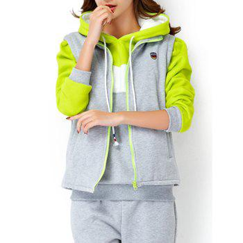 Fleece Hoodie and Vest With Track Pants Set - LIGHT GRAY 2XL