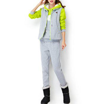 Fleece Hoodie and Vest With Track Pants Set - LIGHT GRAY LIGHT GRAY