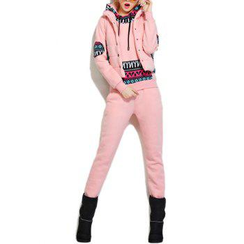 Fleece Pocket Hoodie and Vest With Track Pants Set - PINK PINK