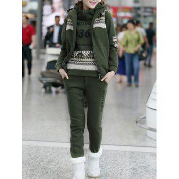 Letter Snow Printed Hoodie and Vest With Track Pants Set - ARMY GREEN ARMY GREEN