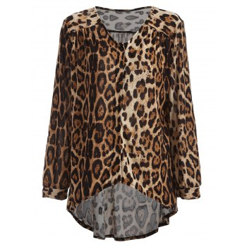 High-Low Leopard Loose Blouse