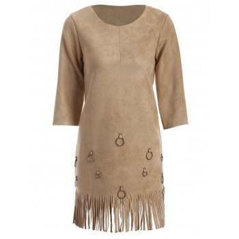 Tassels Faux Suede A-Line Dress
