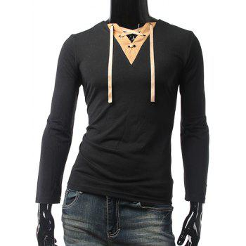 Panel V Neck Lace Up Long Sleeve Tee