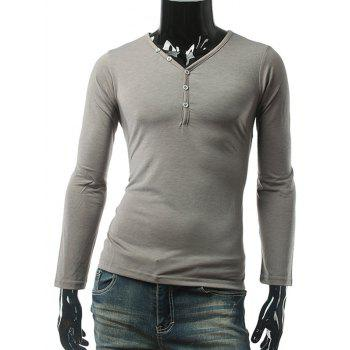 Slim Fit Button Up V Neck Long Sleeve Tee