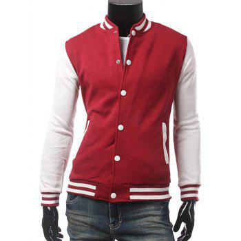 Color Block Button Up Panel Baseball Jacket