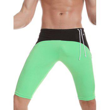 Side Drawstring Contrast Panel Swimming Trunks
