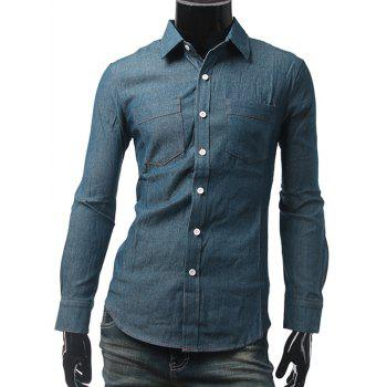 Long Sleeve Button Up Pockets Denim Shirt