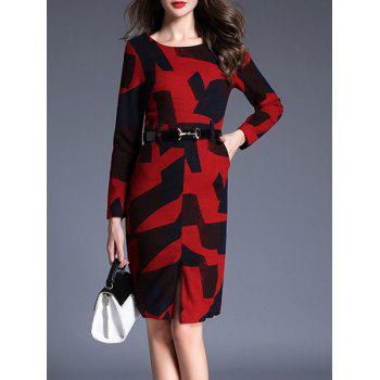 Poches fendues blocs de couleur Robe moulante - Rouge S
