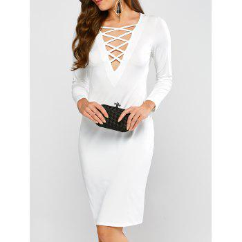 Long Sleeve Lace-Up Sheath Dresses