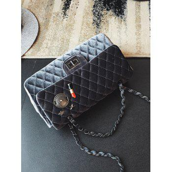 Metal Chain Argyle Pattern Shoulder Bag - DEEP GRAY