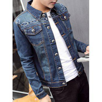 Button Up Embroidery Denim Jacket with Flap Pockets