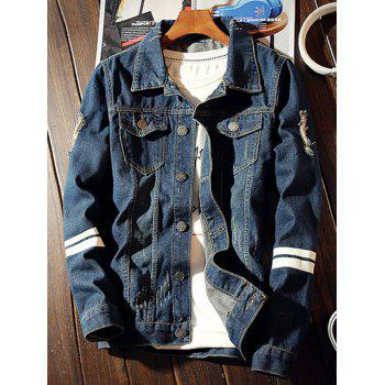 Varsity Striped Graphic Printed Distressed Denim Jacket