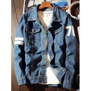 Boston 67 Print Varsity Striped Denim Jacket