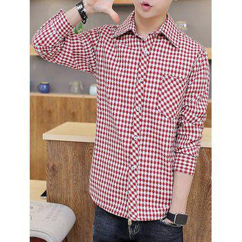 Long Sleeve Checked Shirt with Pocket