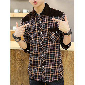 Long Sleeve Corduroy Panel Checked Shirt