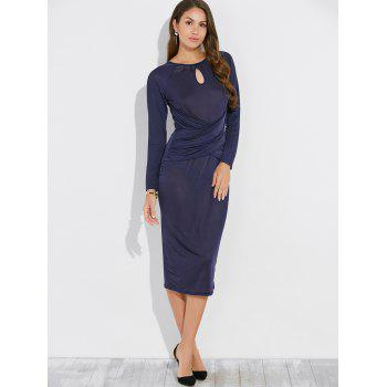 Keyhole Long Sleeve Midi Sheath Bandage Dress - PURPLISH BLUE PURPLISH BLUE