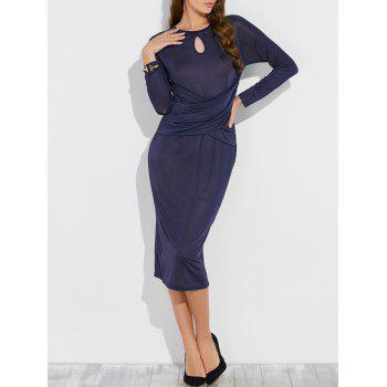 Keyhole Long Sleeve Midi Sheath Bandage Dress