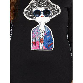 Sweat-robe manches longues grande taille motif cartoon - [