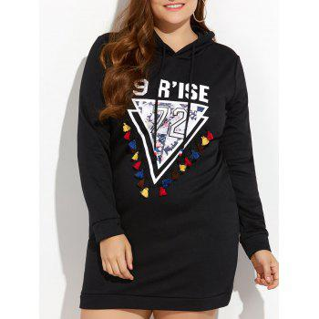 Plus Size Tassels Printed Hooded Sweatshirt Dress