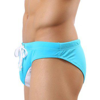 Color Block Spliced Lace Up Swim Briefs - BLUE BLUE