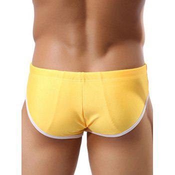 Color Block Splicing Lace Up Swim Briefs - YELLOW S