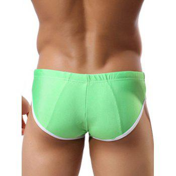 Color Block Splicing Lace Up Swim Briefs - GREEN L
