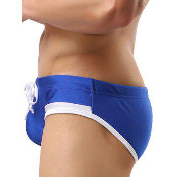 Color Block Splicing Lace Up Swim Briefs - BLUE S