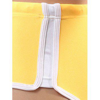 Splicing Lace Up Swim Trunks - Jaune S