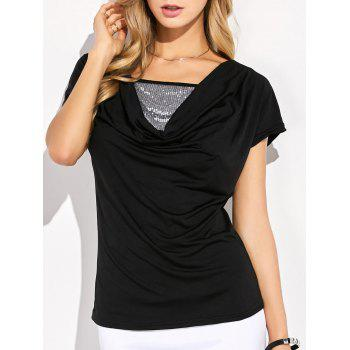 Sequin Embellished Ruched T-Shirt