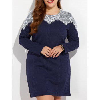 Plus Size Lace Inset Sweater Mini Dress