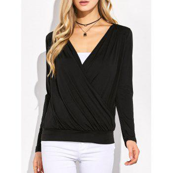Plunging Neck Surplice Ruched T-Shirt