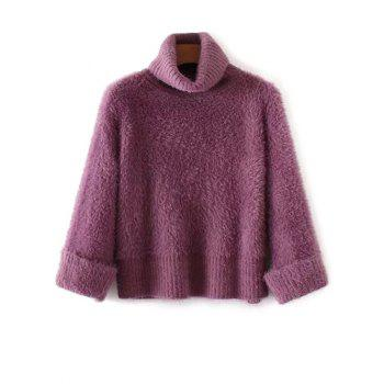 Turtleneck Fuzzy Loose Sweater