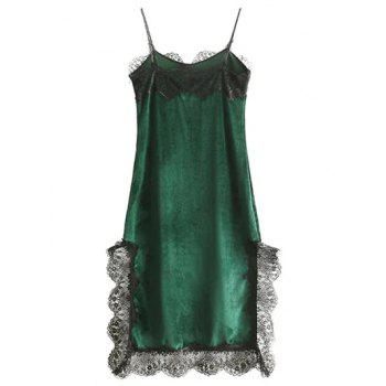Cami Scalloped Lace Panel A-Line Dress - GREEN L