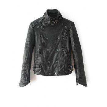 Stand Neck PU Leather Biker Jacket
