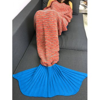Comfortable Knitting Striped Mermaid Tail Style Blanket