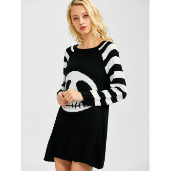 Stripes Ghost Pattern Tunic Shirt Sweater Dress - WHITE/BLACK L