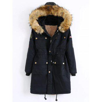 Hooded Patch Parka Coat