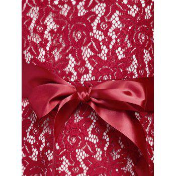 Sleeveless Backless Long Lace Prom Dress - WINE RED WINE RED