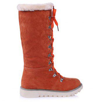 Faux Fur Lace Up Slip On Bottes mi-mollet - Tangerine 38