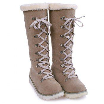 Faux Fur Lace Up Mid-Calf Boots