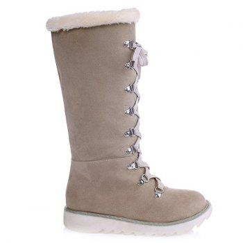 Faux Fur Lace Up Slip On Bottes mi-mollet - Abricot 37