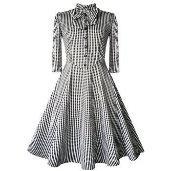 Checked Bow Sweet Heart Neck Swing Dress