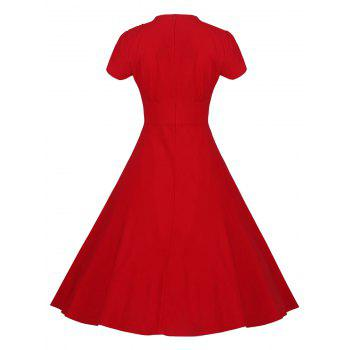 Lace Embroidered Insert 1940S Cocktail Swing Dress - RED RED