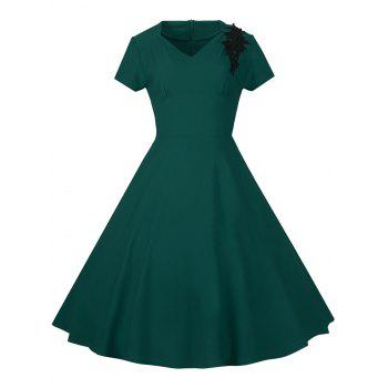 Lace Embroidered Insert 1940S Cocktail Swing Dress - GREEN GREEN