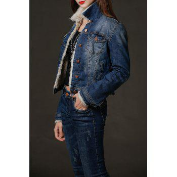 Flocking Frayed Denim Jacket - DENIM BLUE M