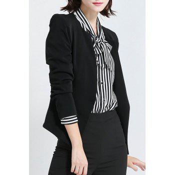 Collarless Business Slim Fit Blazer - BLACK 3XL