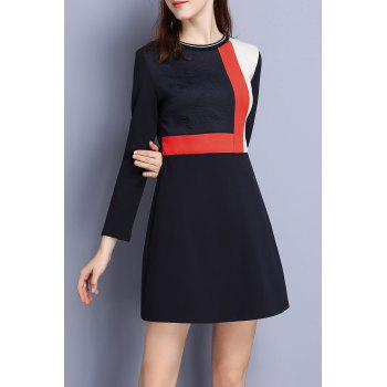 A Line Long Sleeve Color Block Dress
