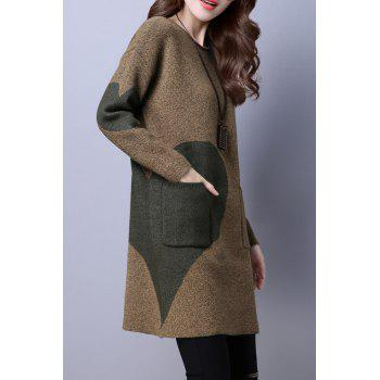 Color Block Pocket Loose Sweater Dress - ARMY GREEN L