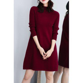 Mock Neck Ribbed Knit A Line Dress - BURGUNDY BURGUNDY