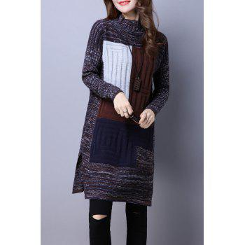 Mock Neck Color Block Sweater Dress